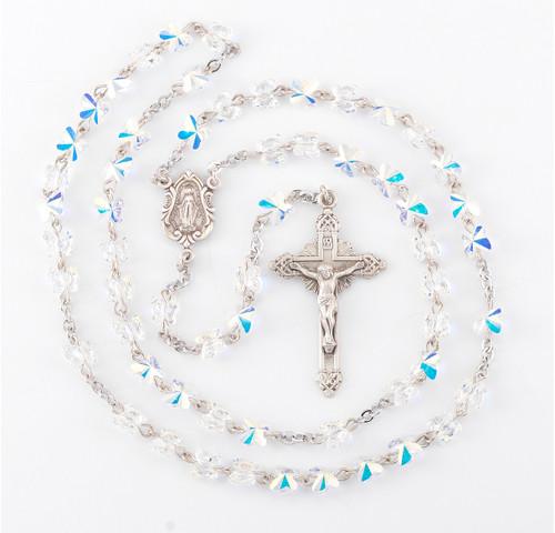 Aurora Borealis Swarovski Crystal Butterfly Rosary