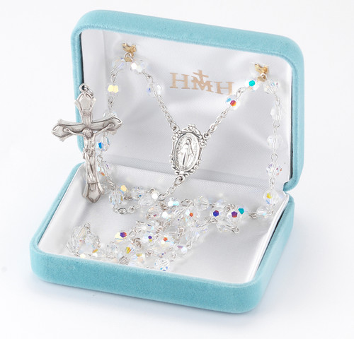 Aurora Borealis Swarovski Crystal Rosary