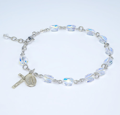 Aurora Crystal Flat Oval Swarovski Crystal Sterling Bracelet