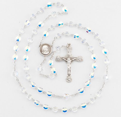Aurora Flat Oval Swarovski Crystal Rosary