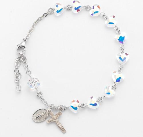 Aurora Heart Shaped Swarovski Crystal Bead Rosary Bracelet