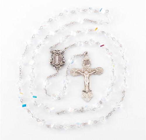 Aurora Helix Shape Swarovski Crystal Sterling Silver Rosary