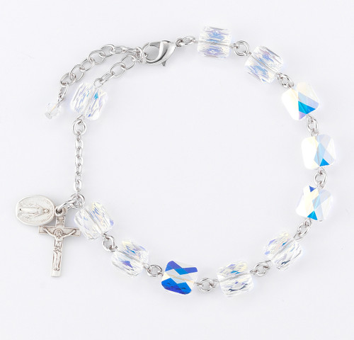 Aurora Multi-Faceted Square Swarovski Crystal Rosary Bracelet