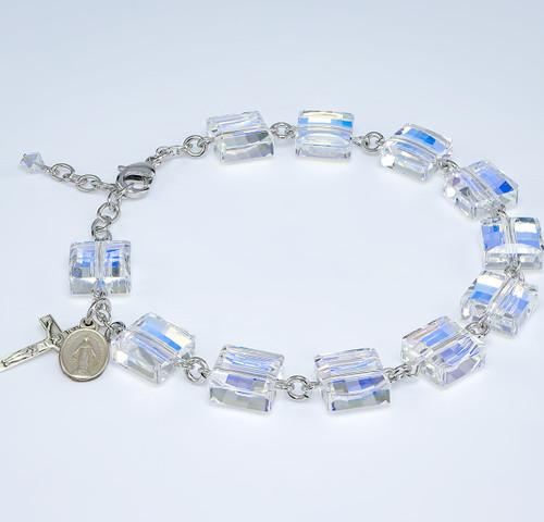 Aurora Square Bead Swarovski Crystal Rosary Bracelet