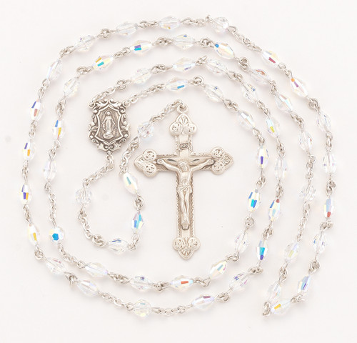 Aurora Oval Swarovski Crystal Sterling Silver Rosary | 7.5 x 5mm Beads