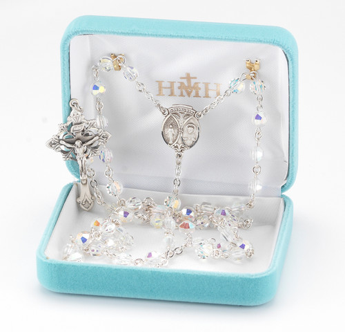 Aurora Semi Flat Swarovski Crystal Rosary
