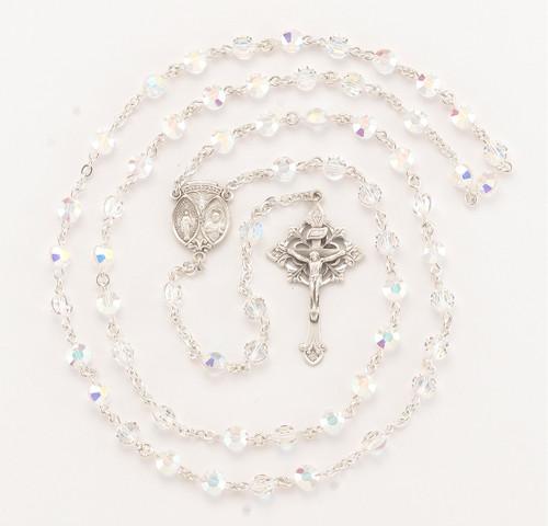 Aurora Semi-Flat Swarovski Crystal Sterling Silver Rosary