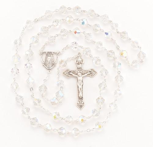 Aurora Sphere Shape Swarovski Crystal Sterling Silver Rosary