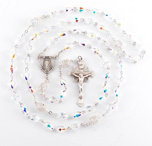 Aurora Tear Shape Swarovski Crystal Sterling Silver Rosary