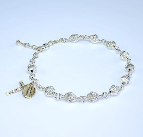 Bicone Corrugated Sterling Silver Rosary Bracelet