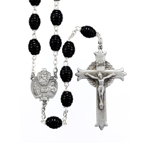 Black Beehive Boxwood New England Pewter Rosary
