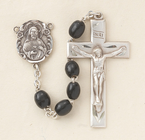 Black Oval Boxwood Rosary | 5mm Beads