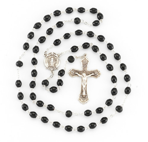 Black Oval Boxwood Rosary | 6mm Beads