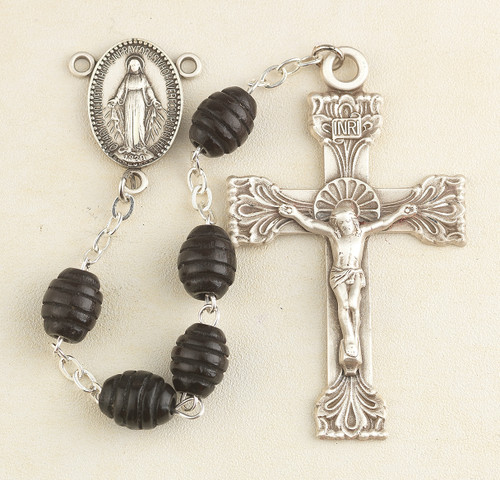 Black Oval Carved Beehive Boxwood Rosary
