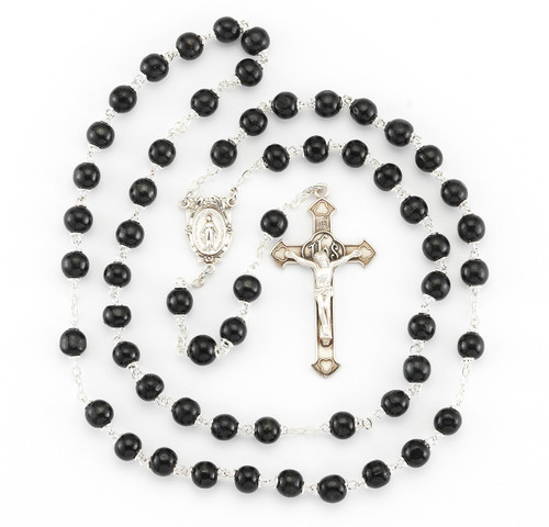 Black Round Boxwood Rosary