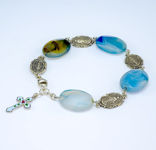 Blue Agate Faceted Stone with Sterling Silver Miraculous Medals Rosary Bracelet