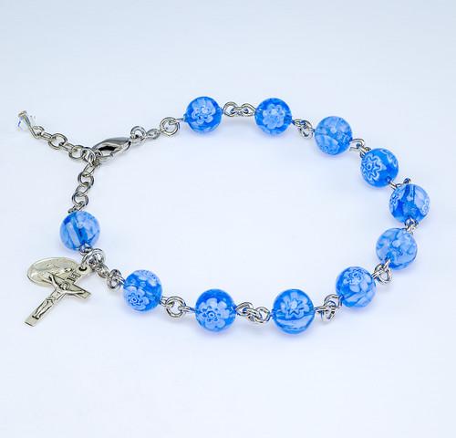 Blue Flower Venetian Glass Rosary Bracelet