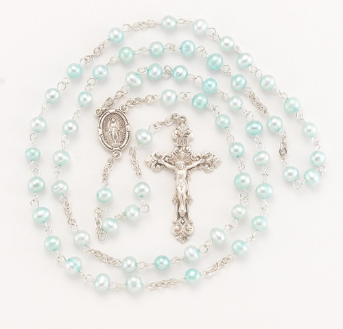 Blue Freshwater Pearl Rosary | 5mm Beads