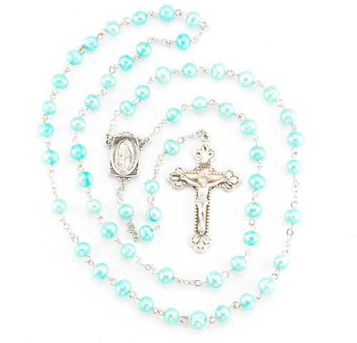 Blue Freshwater Pearl Rosary | 6mm Beads