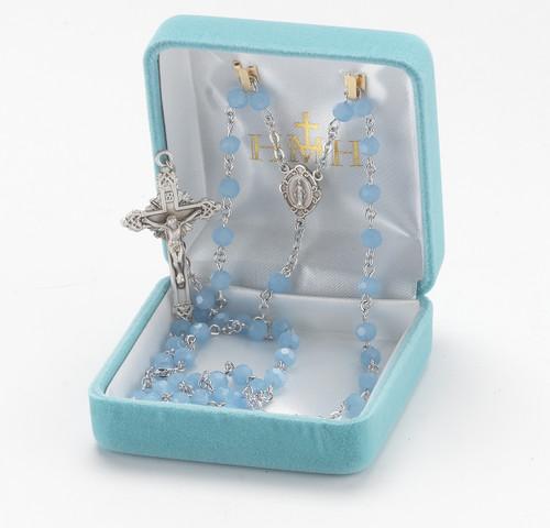 Blue Opal Swarovski Crystal Cube Shape Rosary