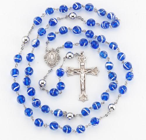 Blue Venetian Glass Bead Rosary