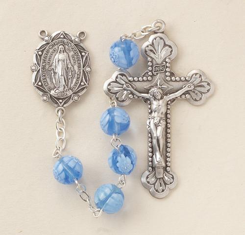 Blue Venetian Glass Flower Rosary