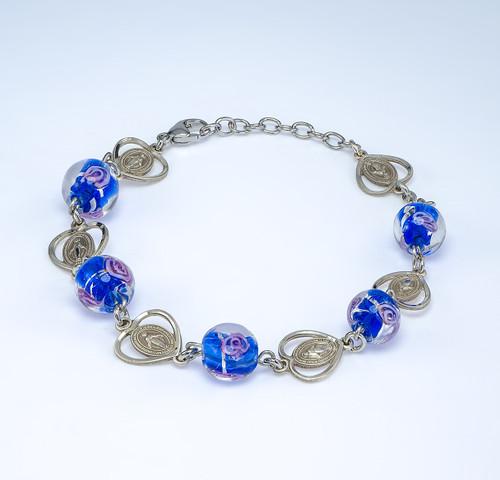 Blue Venetian Round Glass Sterling Silver Rosary Bracelet