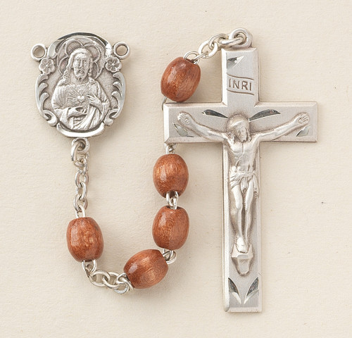 Brown Oval Boxwood Rosary | 5mm Beads