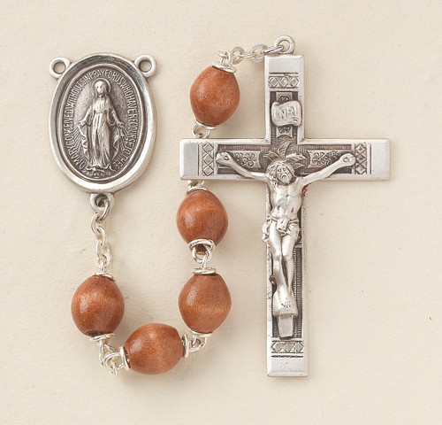 Brown Oval Boxwood Rosary | 6mm Beads