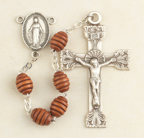 Brown Oval Carved Beehive Boxwood Rosary