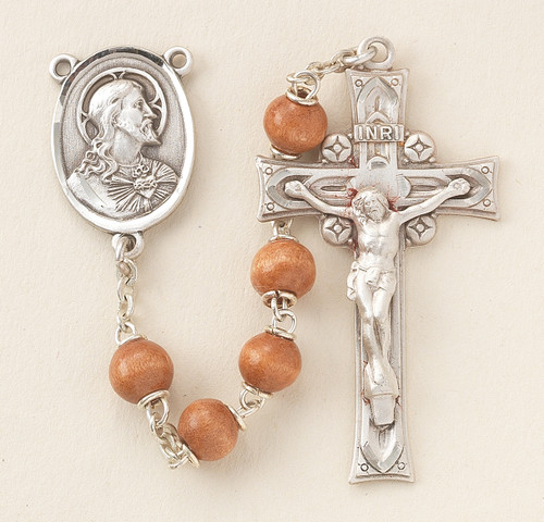 Brown Round Boxwood Rosary