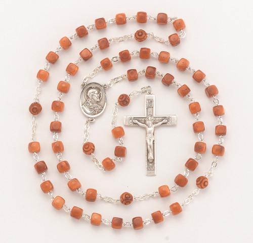 Brown Square Genuine Cocoa Bead Rosary