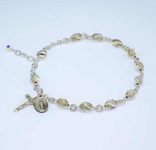 Corrugated Swirl Oval Sterling Silver Rosary Bracelet