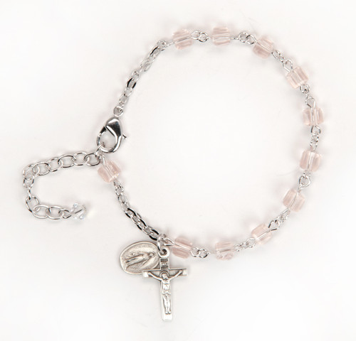 Crystal Cube Bead Rosary Bracelet | Light Rose Beads