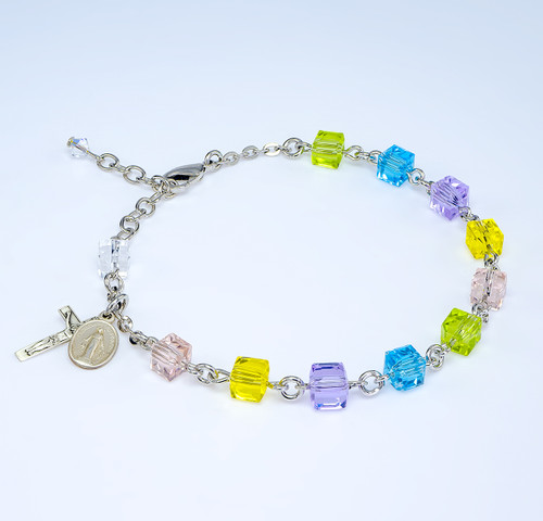 Crystal Cube Multi-Color Bead Rosary Bracelet