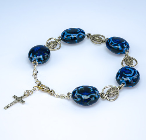 Dark and Light Blue Porcelain Pierced Heart Miraculous Sterling Silver Rosary Bracelet