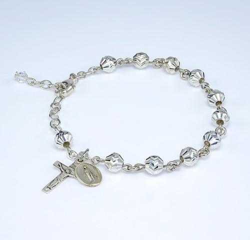 Diamond Cut Sterling Silver Rosary Bracelet 5mm