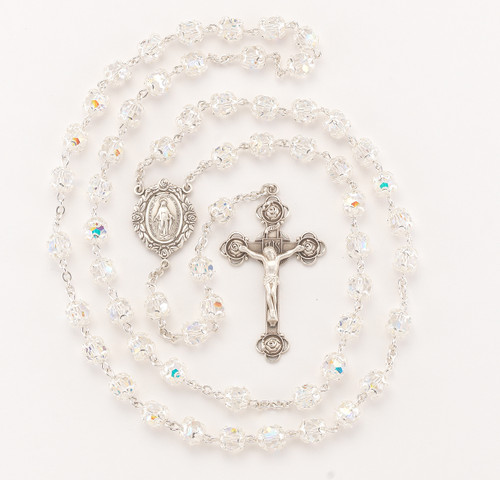 Double Capped Crystal Swarovski Sterling Silver Rosary