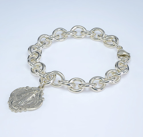 Extra Heavy Solid Sterling Silver Link Style Bracelet with Hail Mary Miraculous Charm