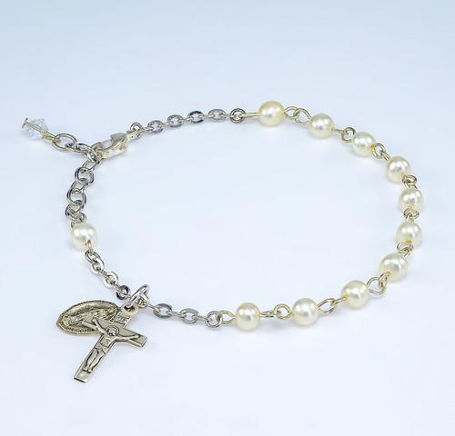 Fresh Water Pearl Rosary Bracelet | Crucifix & Miraculous Medal