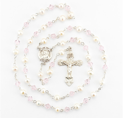 Freshwater Pearl and Pink Bicone Bead Rosary