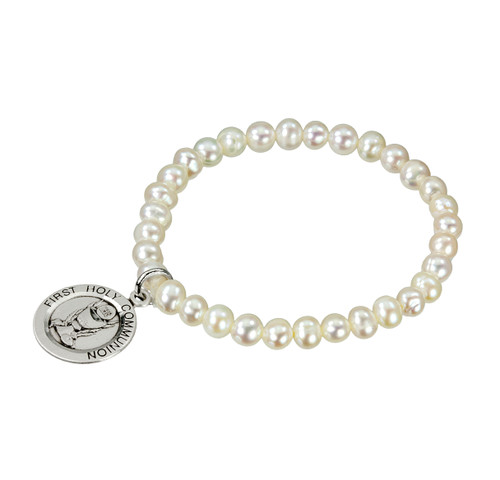 Freshwater Pearl First Communion Stretch Bracelet