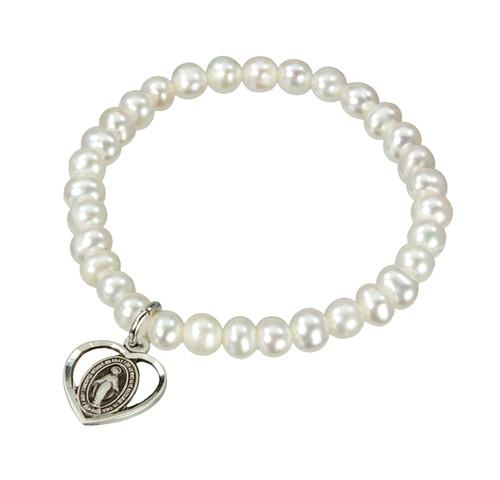 Freshwater Pearl Rosary Bracelet | Silver Miraculous Heart Medal