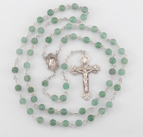 Genuine Aventurine Sterling Silver Rosary