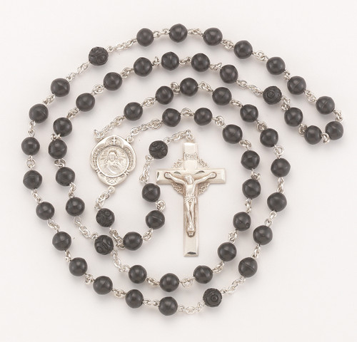 Genuine Black Cocoa Bead Sterling Silver Rosary