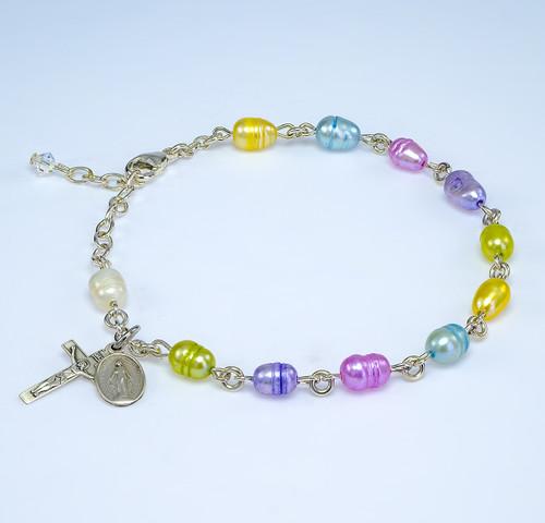Genuine Freshwater Multi-Colored Pearl Sterling Silver Rosary Bracelet