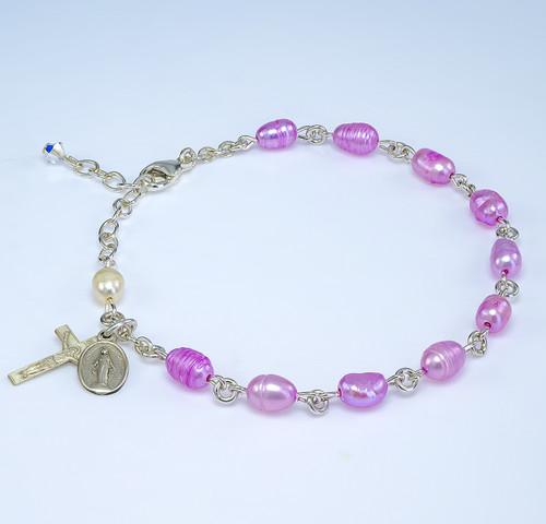 Genuine Freshwater Pink Pearl Sterling Silver Rosary Bracelet