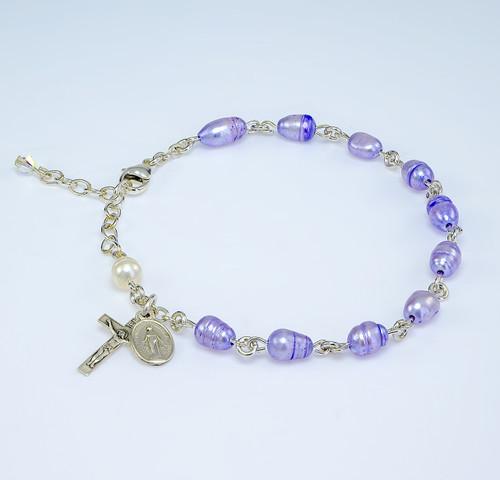 Genuine Freshwater Violet Pearl Sterling Silver Rosary Bracelet