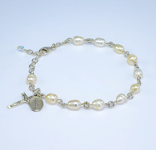 Genuine Freshwater White Pearl Sterling Silver Rosary Bracelet