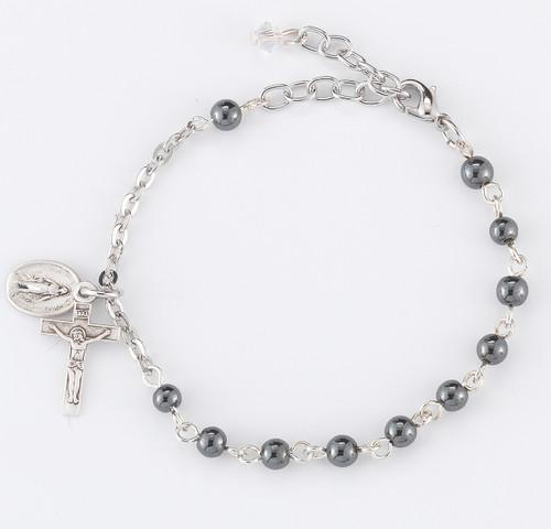 Genuine Hematite Round Rosary Bracelet | 4mm Beads